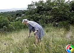 Granny picked up right on a field and double-teamed like a filthy whore by two horny farmers