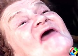 70 y.o. granny gets fucked raw by a much younger guy and takes a messy cumshot on her tits
