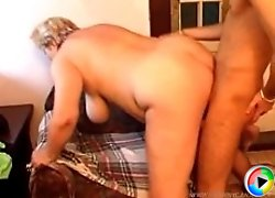 Old blonde with a whole lot of cushion for pushin� gets banged by youngster