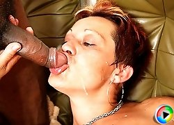 The slutty grandma and her two young lovers have really great sex and she gobbles meat