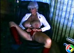 Busty mom dildoing wet pussy
