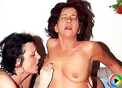 Cock starved Marsha and Agnes double teaming to take on a cock and enjoy equal share of pounding
