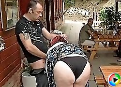 Fat granny fucked in public and pounded doggy style