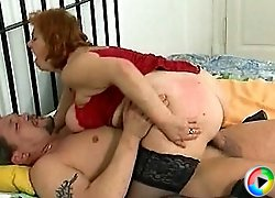 Plumper housewife straddles a big cock