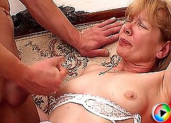 Stud seduced by horny old Granny